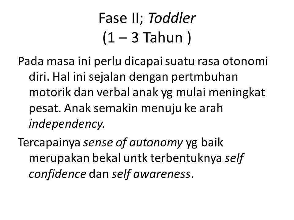 Fase II; Toddler (1 – 3 Tahun ) Pada masa ini perlu dicapai suatu rasa otonomi diri. Hal ini sejalan dengan pertmbuhan motorik dan verbal anak yg mula