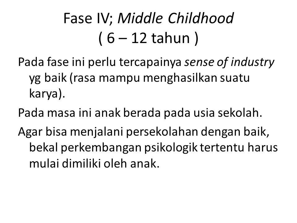 Fase IV; Middle Childhood ( 6 – 12 tahun ) Pada fase ini perlu tercapainya sense of industry yg baik (rasa mampu menghasilkan suatu karya). Pada masa