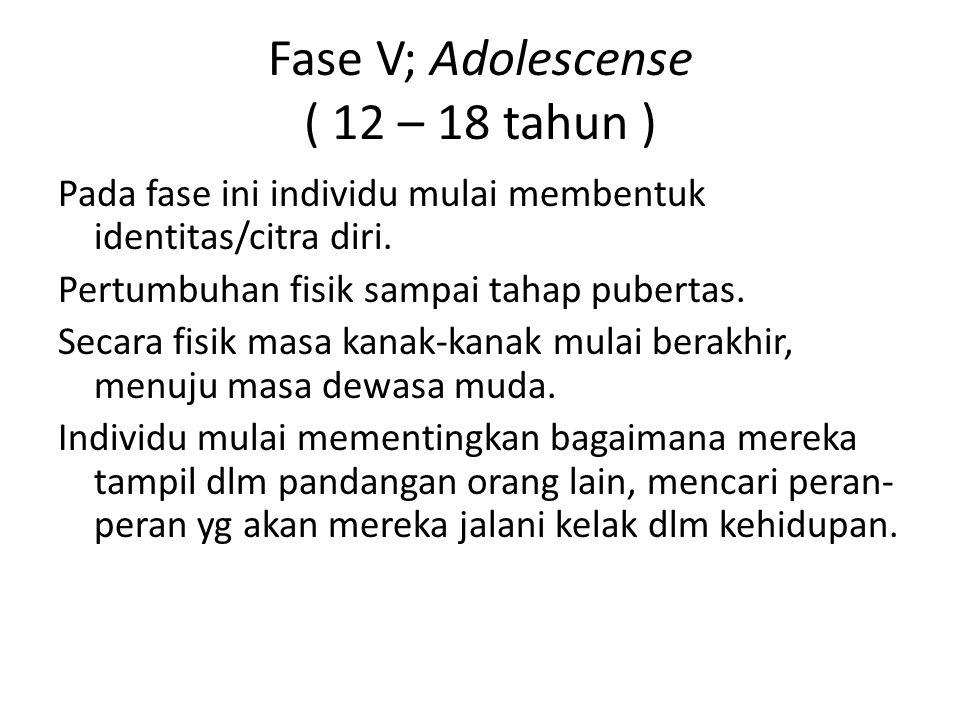 Fase V; Adolescense ( 12 – 18 tahun ) Pada fase ini individu mulai membentuk identitas/citra diri. Pertumbuhan fisik sampai tahap pubertas. Secara fis