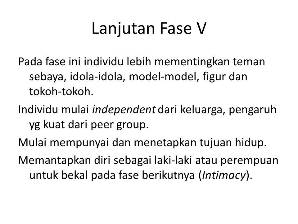 Lanjutan Fase V Pada fase ini individu lebih mementingkan teman sebaya, idola-idola, model-model, figur dan tokoh-tokoh. Individu mulai independent da
