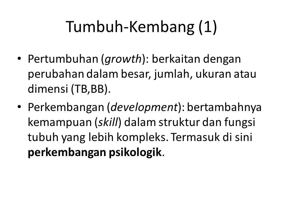 Tumbuh-Kembang (1) • Pertumbuhan (growth): berkaitan dengan perubahan dalam besar, jumlah, ukuran atau dimensi (TB,BB). • Perkembangan (development):