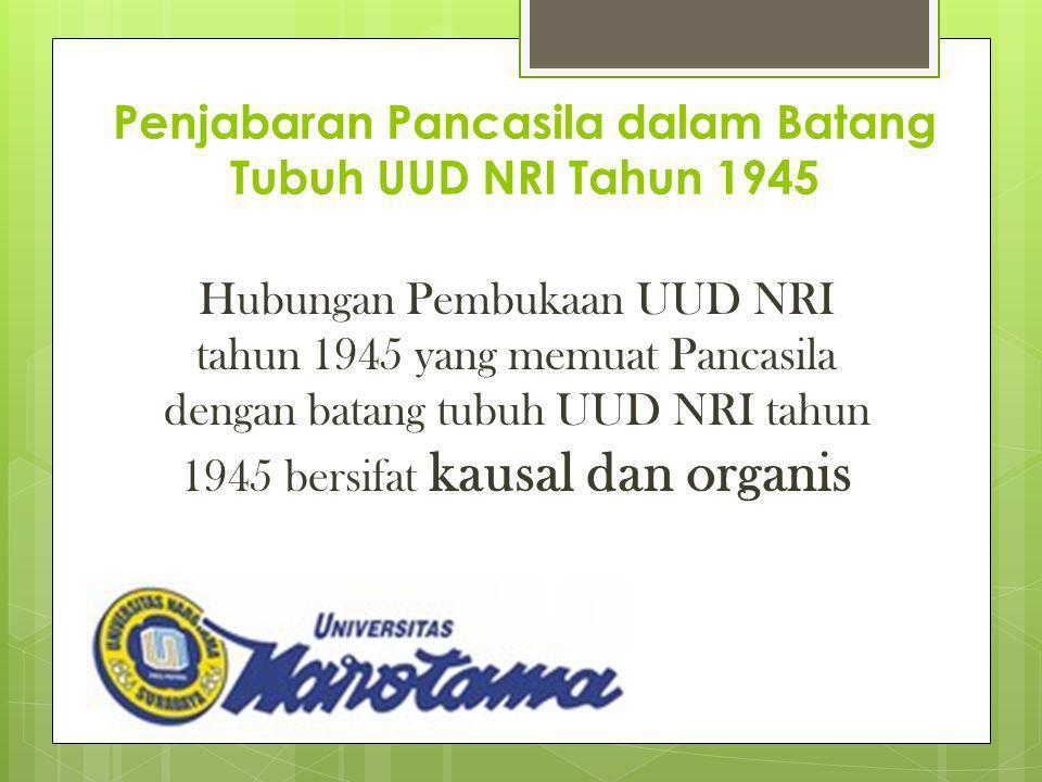 Penjabaran Pancasila dalam Batang Tubuh UUD NRI Tahun 1945 Hubungan Pembukaan UUD NRI tahun 1945 yang memuat Pancasila dengan batang tubuh UUD NRI tah
