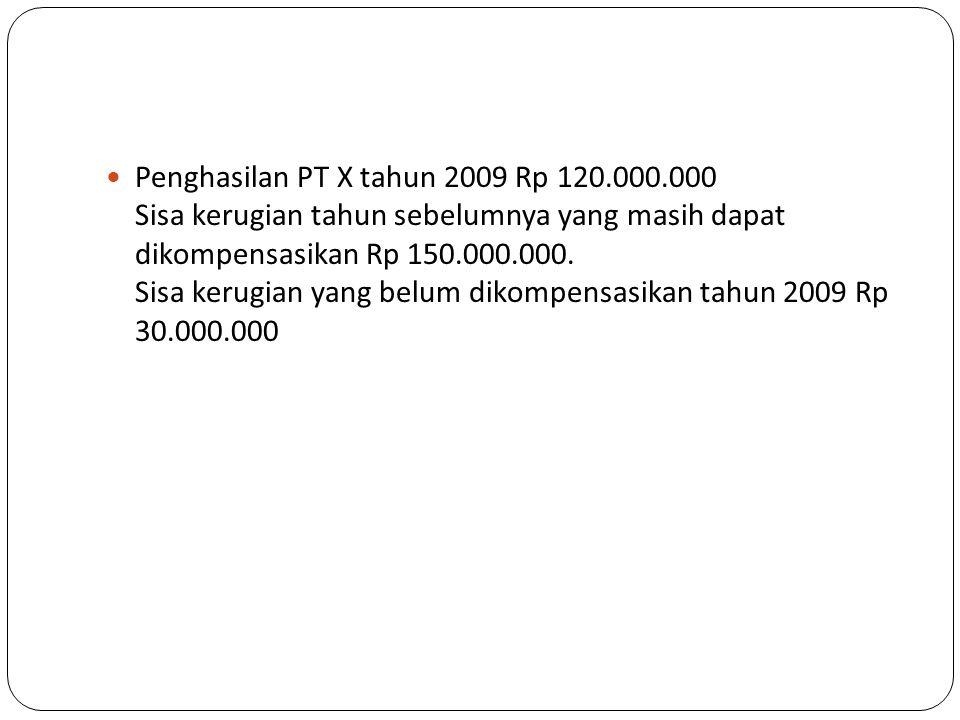  Penghasilan PT X tahun 2009 Rp 120.000.000 Sisa kerugian tahun sebelumnya yang masih dapat dikompensasikan Rp 150.000.000.