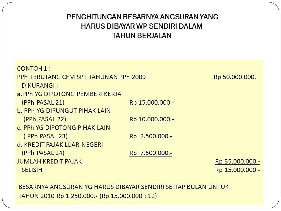 PENGHITUNGAN BESARNYA ANGSURAN YANG HARUS DIBAYAR WP SENDIRI DALAM TAHUN BERJALAN CONTOH 1 : PPh TERUTANG CFM SPT TAHUNAN PPh 2009 Rp 50.000.000.