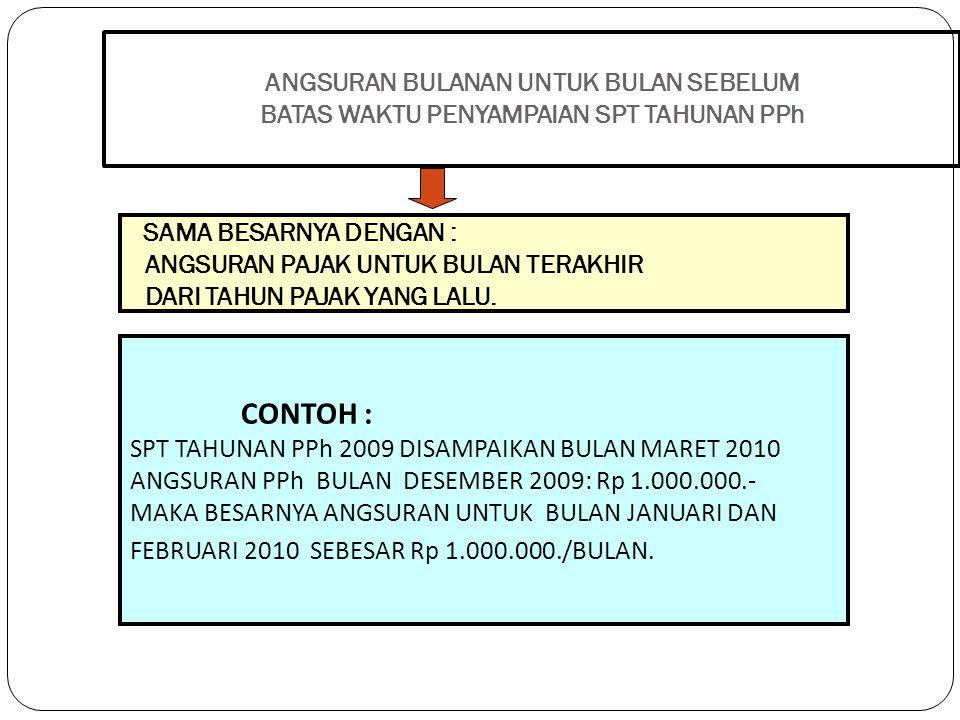 Contoh Apabila SPT tahunan oleh Wajib Pajak badan tahun 2010 disampaikan pada bulan Maret 2011, maka besarnya angsuran PPh pasal 25 yang harus dibayar Wajib Pajak untuk bulan Januari dan Februari adalah sebesar angsuran PPh pasal 25 yang dibayar pada bulan Desember 2010.