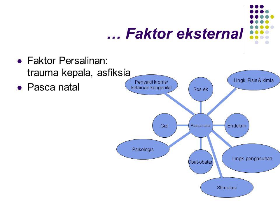 … Faktor eksternal  Faktor Persalinan: trauma kepala, asfiksia  Pasca natal Lingk. Fisis & kimia Penyakit kronis/ kelainan kongenital Lingk. pengasu