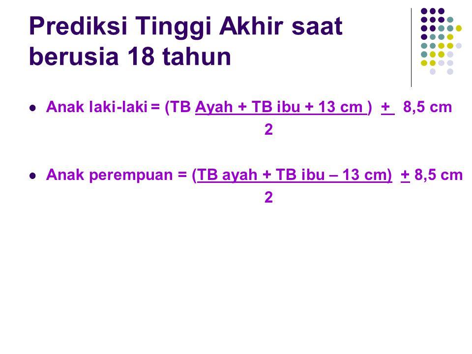 Prediksi Tinggi Akhir saat berusia 18 tahun  Anak laki-laki = (TB Ayah + TB ibu + 13 cm ) + 8,5 cm 2  Anak perempuan = (TB ayah + TB ibu – 13 cm) +
