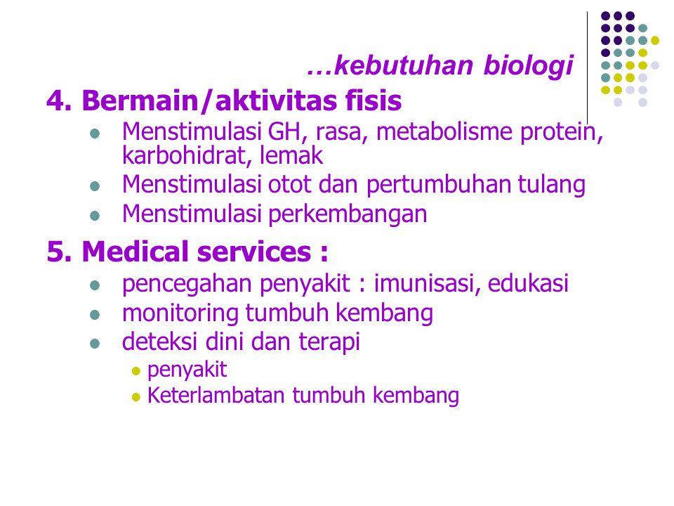 …kebutuhan biologi 4. Bermain/aktivitas fisis  Menstimulasi GH, rasa, metabolisme protein, karbohidrat, lemak  Menstimulasi otot dan pertumbuhan tul