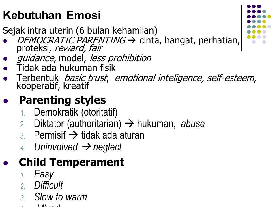 Kebutuhan Emosi Sejak intra uterin (6 bulan kehamilan)  DEMOCRATIC PARENTING  cinta, hangat, perhatian, proteksi, reward, fair  guidance, model, le