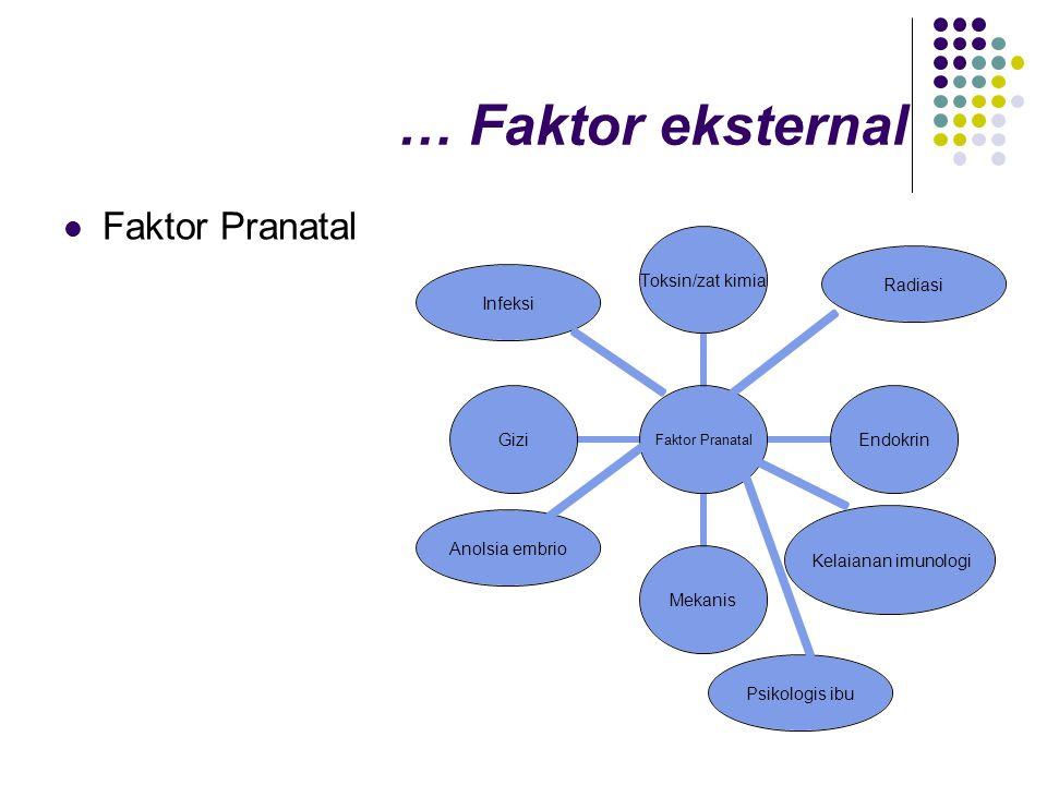 … Faktor eksternal  Faktor Pranatal Radiasi Infeksi Kelaianan imunologi Anolsia embrio Psikologis ibu