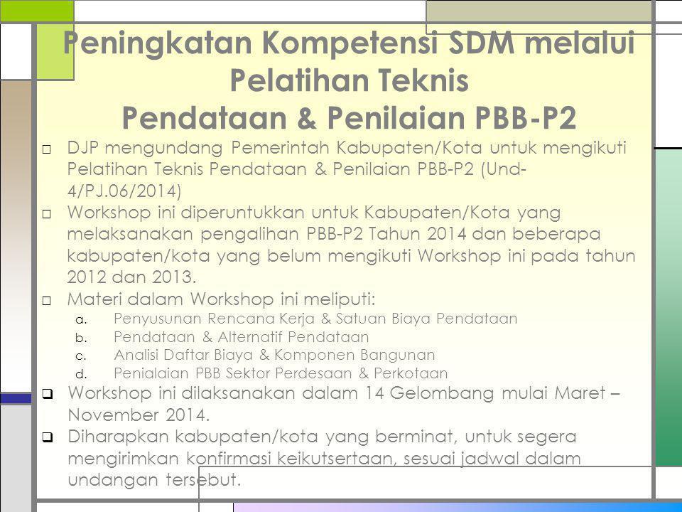 Peningkatan Kompetensi SDM melalui Pelatihan Teknis Pendataan & Penilaian PBB-P2 □DJP mengundang Pemerintah Kabupaten/Kota untuk mengikuti Pelatihan T
