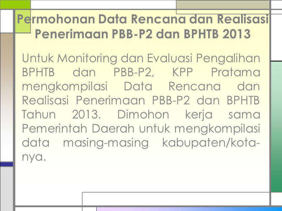Permohonan Data Rencana dan Realisasi Penerimaan PBB-P2 dan BPHTB 2013 Untuk Monitoring dan Evaluasi Pengalihan BPHTB dan PBB-P2, KPP Pratama mengkomp