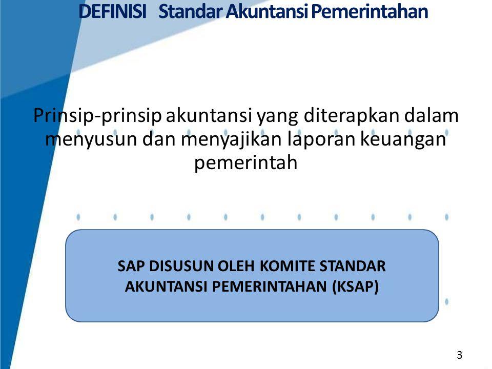 Kerangka Konseptual Akuntansi Pemerintahan Pernyataan Standar Akuntansi Pemerintahan (PSAP): 1.PSAP Nomor 01 tentang Penyajian Laporan Keuangan; 2.PSAP Nomor 02 tentang Laporan Realisasi Anggaran; 3.PSAP Nomor 03 tentang Laporan Arus Kas; 4.PSAP Nomor 04 tentang Catatan atas Laporan Keuangan; 5.PSAP Nomor 05 tentang Akuntansi Persediaan; 6.PSAP Nomor 06 tentang Akuntansi Investasi; 7.PSAP Nomor 07 tentang Akuntansi Aset Tetap; 8.PSAP Nomor 08 tentang Akuntansi Konstruksi Dalam Pengerjaan; 9.PSAP Nomor 09 tentang Akuntansi Kewajiban; 10.PSAP Nomor 10 tentang Koreksi Kesalahan, Perubahan Kebijakan Akuntansi, Perubahan Estimasi Akuntansi dan Operasi yang tidak Dilanjutkan; 11.PSAP Nomor 11 tentang Laporan Keuangan Konsolidasian; 12.PSAP Nomor 12 tentang Laporan Operasional.