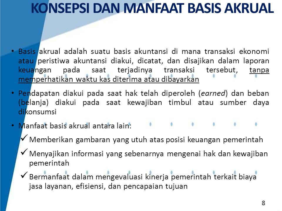 • SAP Akrual dikembangkan dari SAP yang ditetapkan dalam PP 24/2005 dengan mengacu pada International Public Sector Accounting Standards (IPSAS) dan memperhatikan peraturan perundangan serta kondisi Indonesia.