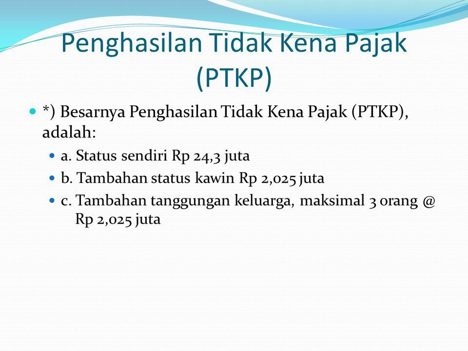 Penghasilan Tidak Kena Pajak (PTKP)  *) Besarnya Penghasilan Tidak Kena Pajak (PTKP), adalah:  a.