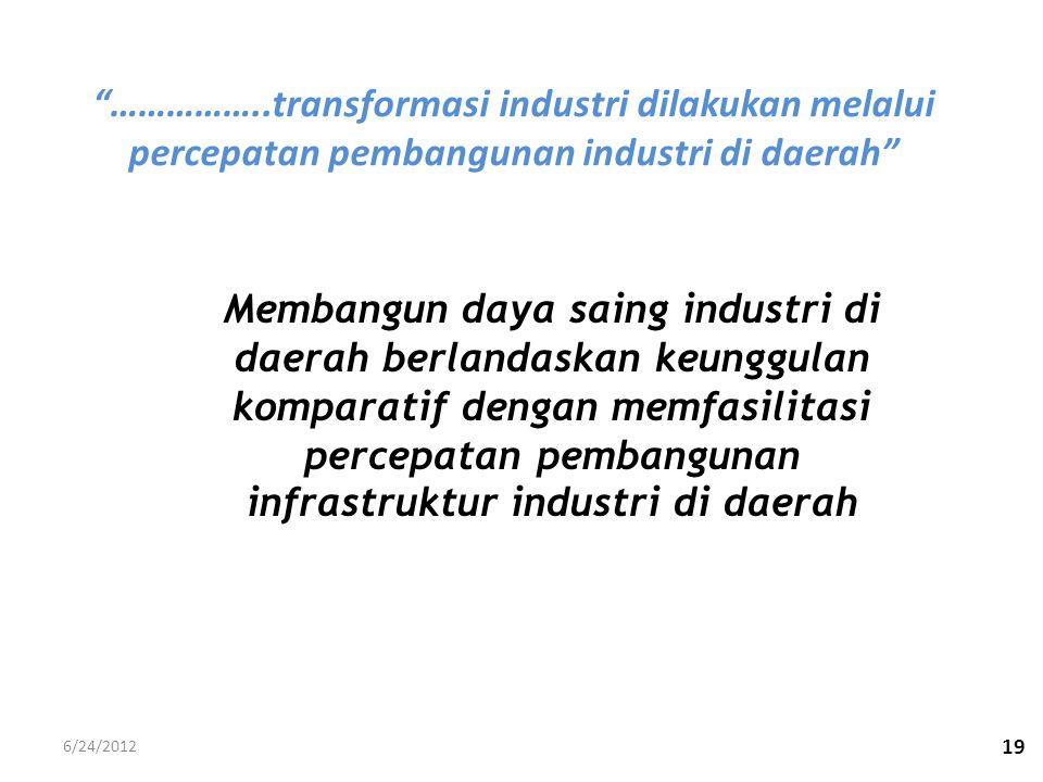 """19 """"……………..transformasi industri dilakukan melalui percepatan pembangunan industri di daerah"""" Membangun daya saing industri di daerah berlandaskan keu"""