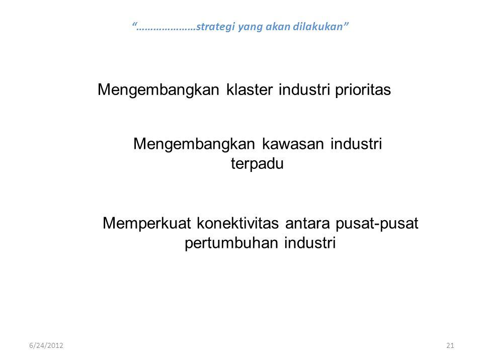 """""""…………………strategi yang akan dilakukan"""" Mengembangkan klaster industri prioritas Mengembangkan kawasan industri terpadu Memperkuat konektivitas antara p"""