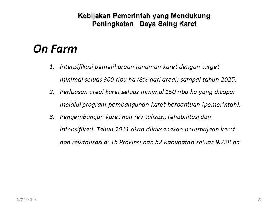 Kebijakan Pemerintah yang Mendukung Peningkatan Daya Saing Karet 1.Intensifikasi pemeliharaan tanaman karet dengan target minimal seluas 300 ribu ha (