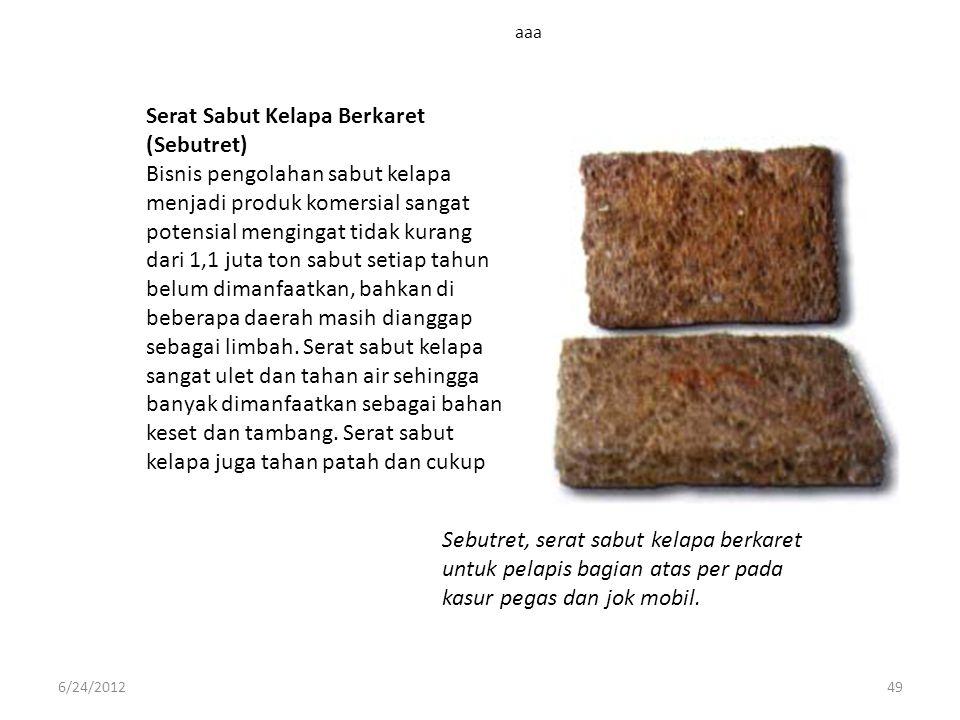 aaa 6/24/201249 Serat Sabut Kelapa Berkaret (Sebutret) Bisnis pengolahan sabut kelapa menjadi produk komersial sangat potensial mengingat tidak kurang
