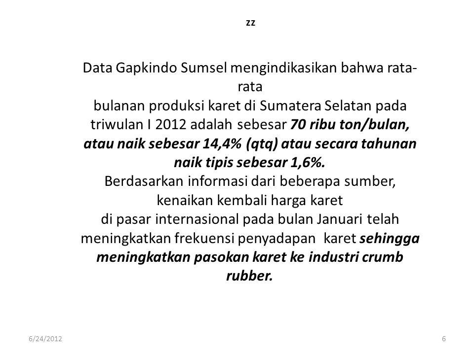 zz Data Gapkindo Sumsel mengindikasikan bahwa rata- rata bulanan produksi karet di Sumatera Selatan pada triwulan I 2012 adalah sebesar 70 ribu ton/bu