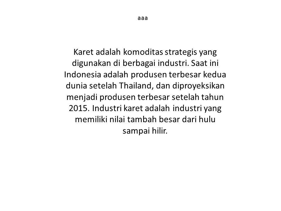aaa Karet adalah komoditas strategis yang digunakan di berbagai industri. Saat ini Indonesia adalah produsen terbesar kedua dunia setelah Thailand, da