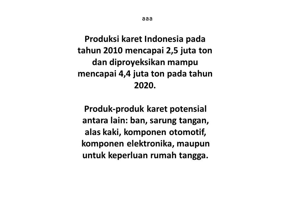 aaa Produksi karet Indonesia pada tahun 2010 mencapai 2,5 juta ton dan diproyeksikan mampu mencapai 4,4 juta ton pada tahun 2020. Produk-produk karet