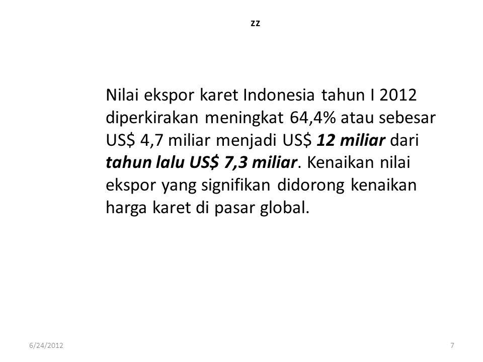 zz Nilai ekspor karet Indonesia tahun I 2012 diperkirakan meningkat 64,4% atau sebesar US$ 4,7 miliar menjadi US$ 12 miliar dari tahun lalu US$ 7,3 mi