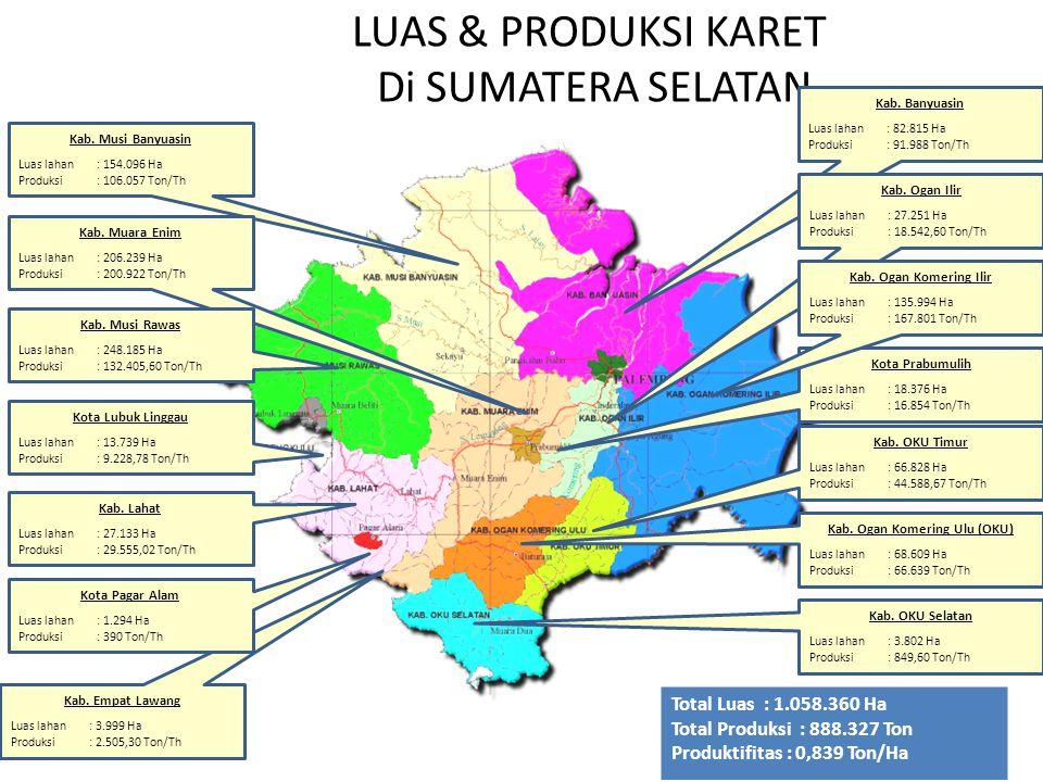 LUAS & PRODUKSI KARET Di SUMATERA SELATAN Kab. Lahat Luas lahan: 27.133 Ha Produksi: 29.555,02 Ton/Th Kota Lubuk Linggau Luas lahan: 13.739 Ha Produks