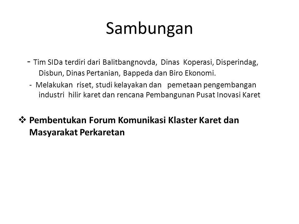 - Tim SIDa terdiri dari Balitbangnovda, Dinas Koperasi, Disperindag, Disbun, Dinas Pertanian, Bappeda dan Biro Ekonomi. - Melakukan riset, studi kelay