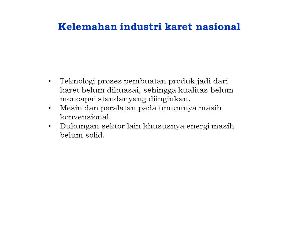 Kelemahan industri karet nasional • Teknologi proses pembuatan produk jadi dari karet belum dikuasai, sehingga kualitas belum mencapai standar yang di