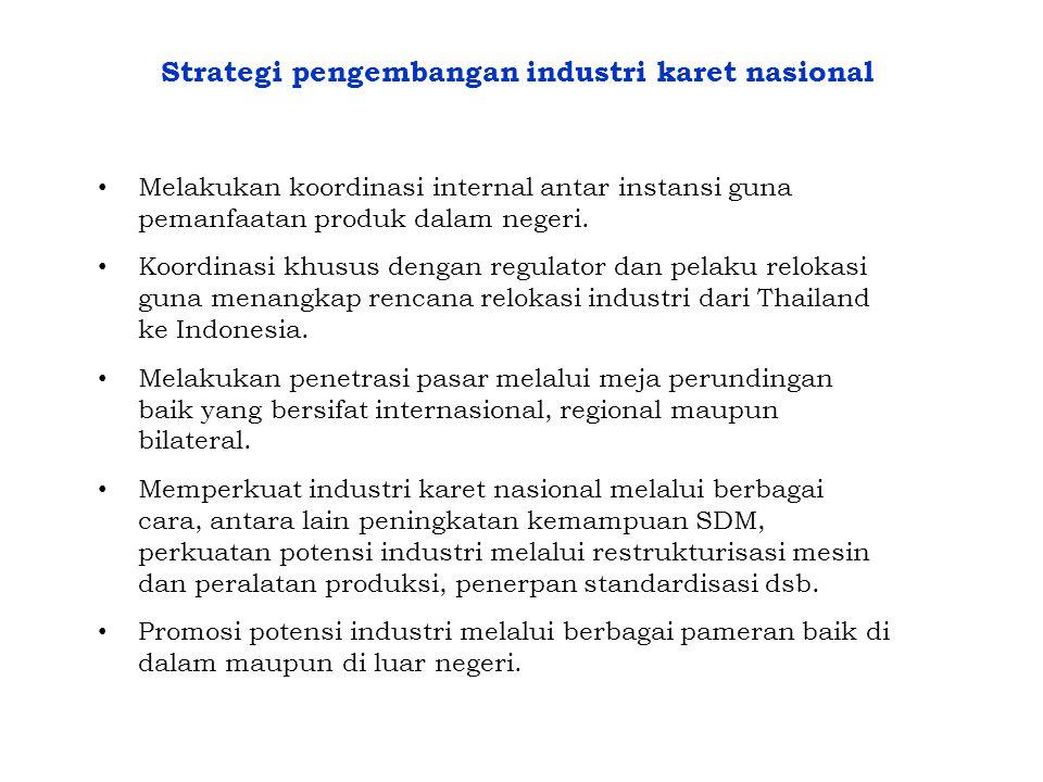 Strategi pengembangan industri karet nasional • Melakukan koordinasi internal antar instansi guna pemanfaatan produk dalam negeri. • Koordinasi khusus