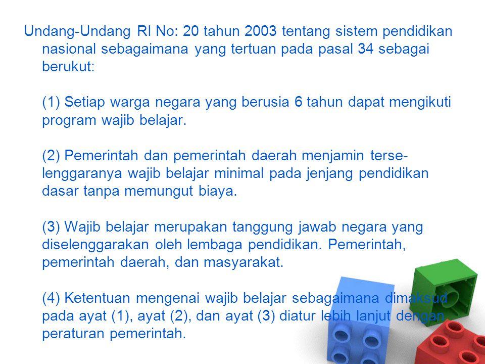 A.Program Wajib Belajar 9 tahun Dalam rangka memperluas kesempatan pendidikan bagi seluruh warga negara dan juga dalam upaya meningkatkan kualitas sumber daya manusia Indonesia, Pemerintah melalui PP No.