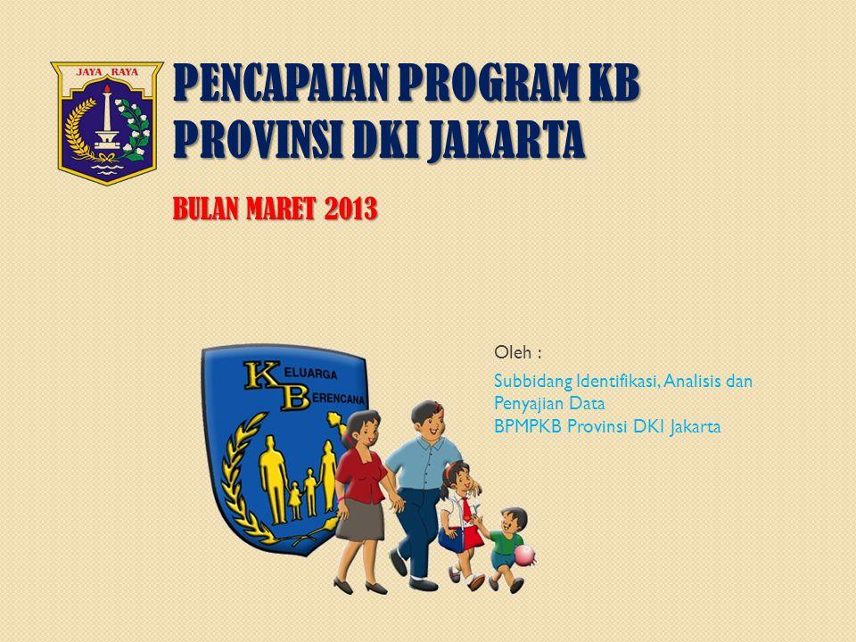 PENCAPAIAN PROGRAM KB PROVINSI DKI JAKARTA BULAN MARET 2013 Oleh : Subbidang Identifikasi, Analisis dan Penyajian Data BPMPKB Provinsi DKI Jakarta