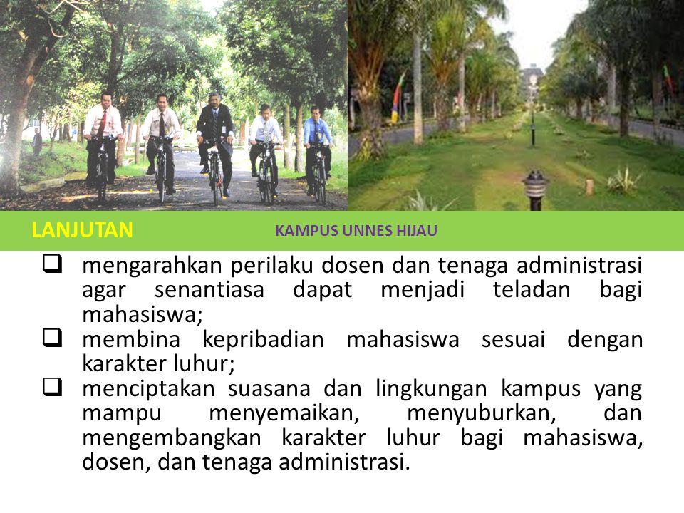  menggali potensi karakter luhur yang dimiliki civitas akademika Universitas Negeri Semarang;  mengembangkan kebiasaan dan perilaku terpuji civitas akademika Universitas Negeri Semarang berdasarkan karakter luhur;