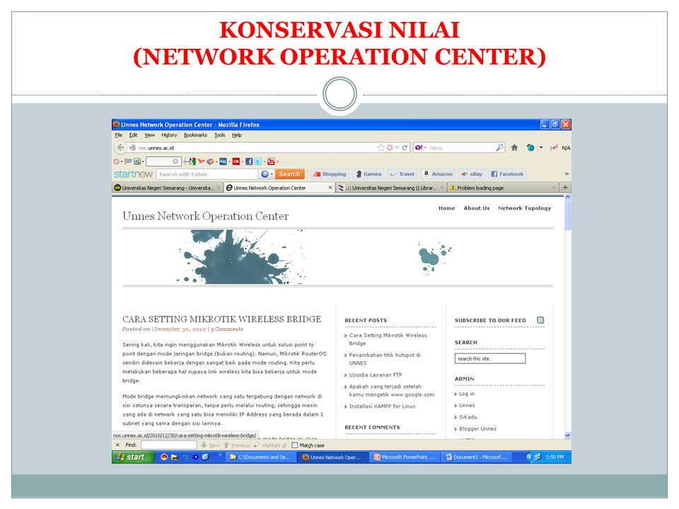 KONSERVASI NILAI (NETWORK OPERATION CENTER)
