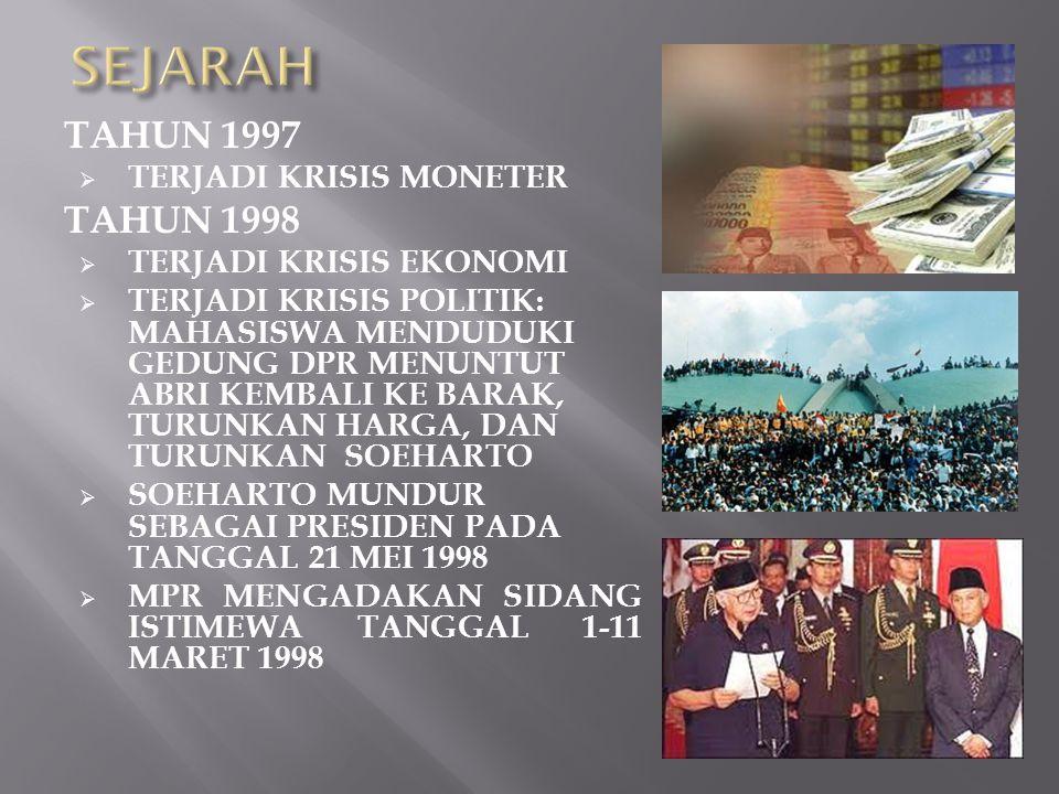 SEJARAH TAHUN 1974  TERJADI PERISTIWA MALARI (MENENTANG KEDATANGAN PM JEPANG TANAKA DAN MENOLAK BARANG-BARANG BUATAN JEPANG) TAHUN 1980-AN  DEMO MAHASISWA MENENTANG KEPEMIMPINAN SUHARTO (HARIMAN SIREGAR, DLL)