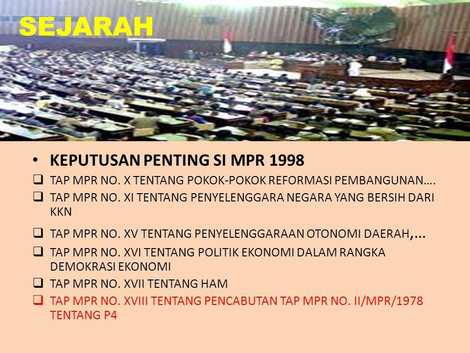 TAHUN 1997  TERJADI KRISIS MONETER TAHUN 1998  TERJADI KRISIS EKONOMI  TERJADI KRISIS POLITIK: MAHASISWA MENDUDUKI GEDUNG DPR MENUNTUT ABRI KEMBALI KE BARAK, TURUNKAN HARGA, DAN TURUNKAN SOEHARTO  SOEHARTO MUNDUR SEBAGAI PRESIDEN PADA TANGGAL 21 MEI 1998  MPR MENGADAKAN SIDANG ISTIMEWA TANGGAL 1-11 MARET 1998