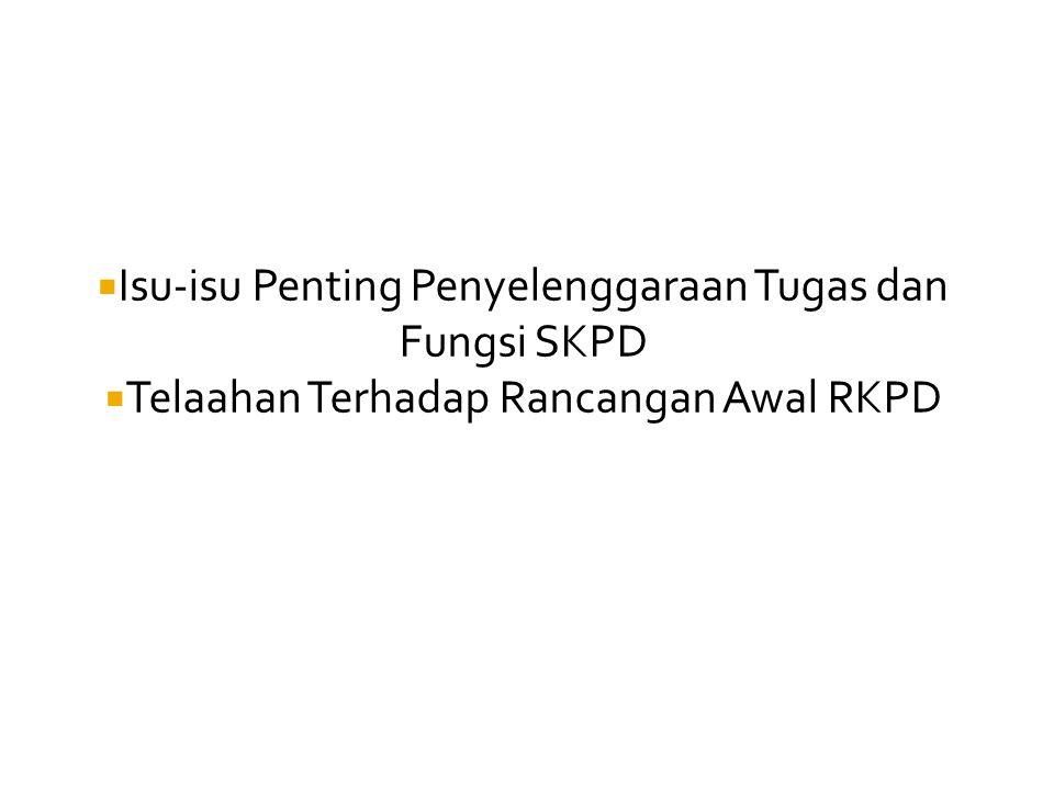  Isu-isu Penting Penyelenggaraan Tugas dan Fungsi SKPD  Telaahan Terhadap Rancangan Awal RKPD