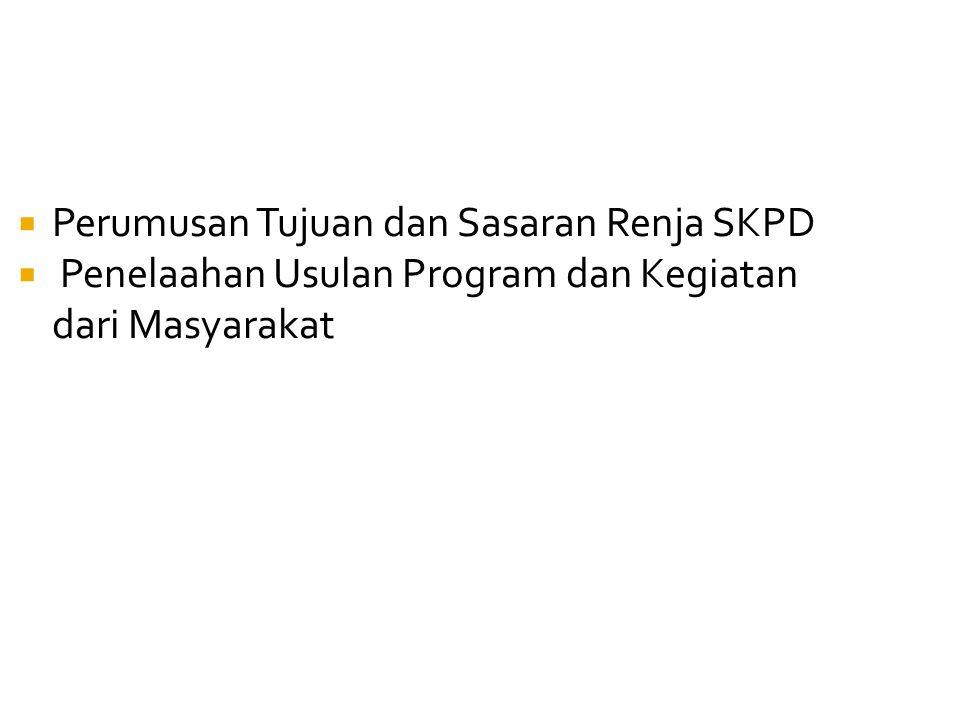  Perumusan Tujuan dan Sasaran Renja SKPD  Penelaahan Usulan Program dan Kegiatan dari Masyarakat