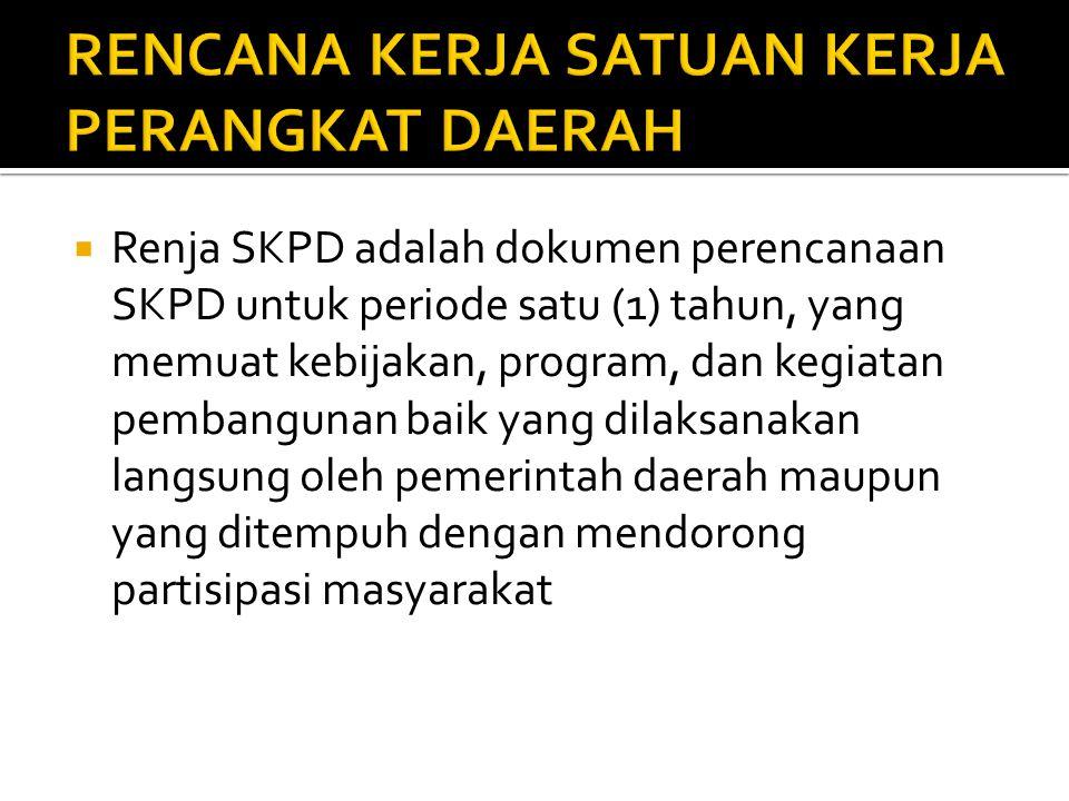  Renja SKPD adalah dokumen perencanaan SKPD untuk periode satu (1) tahun, yang memuat kebijakan, program, dan kegiatan pembangunan baik yang dilaksanakan langsung oleh pemerintah daerah maupun yang ditempuh dengan mendorong partisipasi masyarakat