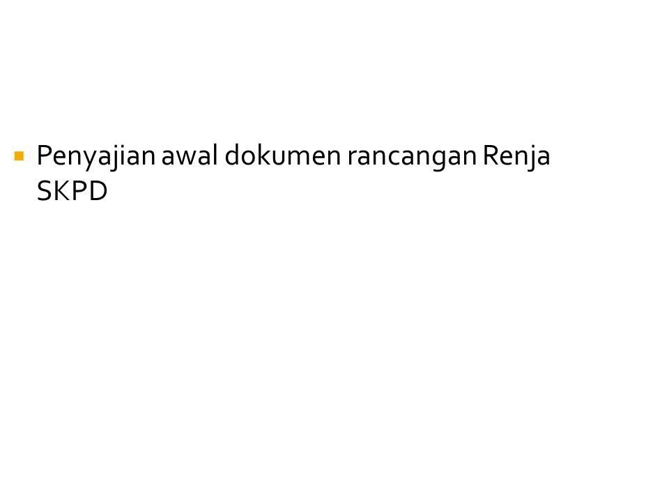  Penyajian awal dokumen rancangan Renja SKPD