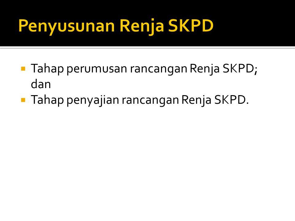  Tahap perumusan rancangan Renja SKPD; dan  Tahap penyajian rancangan Renja SKPD.