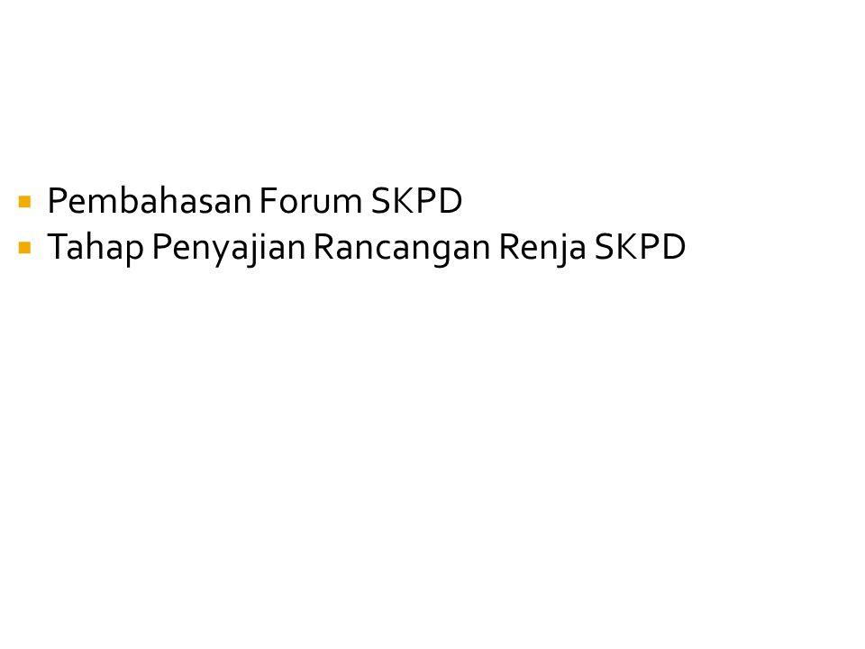 Pembahasan Forum SKPD  Tahap Penyajian Rancangan Renja SKPD