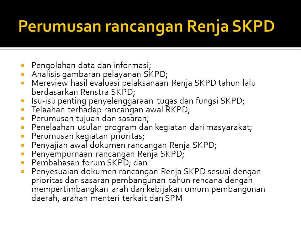  Pengolahan data dan informasi;  Analisis gambaran pelayanan SKPD;  Mereview hasil evaluasi pelaksanaan Renja SKPD tahun lalu berdasarkan Renstra S