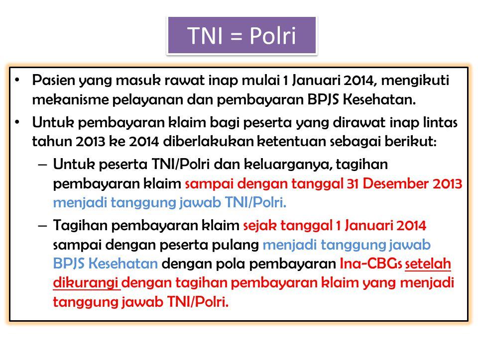 • Pasien yang masuk rawat inap mulai 1 Januari 2014, mengikuti mekanisme pelayanan dan pembayaran BPJS Kesehatan. • Untuk pembayaran klaim bagi pesert