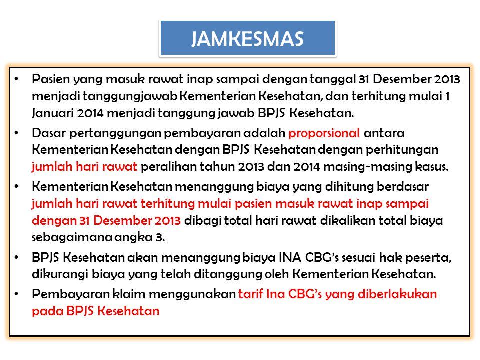  BPJS Kesehatan melakukan verifikasi terhadap klaim rawat jalan dan rawat inap peserta Jamkesmas yang dilayani pada bulan Oktober, November dan Desember tahun 2013 yang belum dilakukan oleh verifikator independen  Verifikasi klaim pelayanan sebelum bulan Oktober tidak menjadi tanggungjawab BPJS Kesehatan  Klaim pelayanan bulan Oktober, Nopember, dan Desember 2013 diajukan paling lambat bulan Maret 2014, pengajuan klaim setelah bulan Maret 2014, verifikasinya tidak menjadi tanggungjawab BPJS Kesehatan.