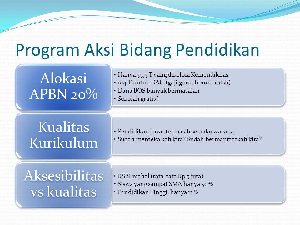 Program Aksi Bidang Pendidikan •Hanya 55,5 T yang dikelola Kemendiknas •104 T untuk DAU (gaji guru, honorer, dsb) •Dana BOS banyak bermasalah •Sekolah gratis.