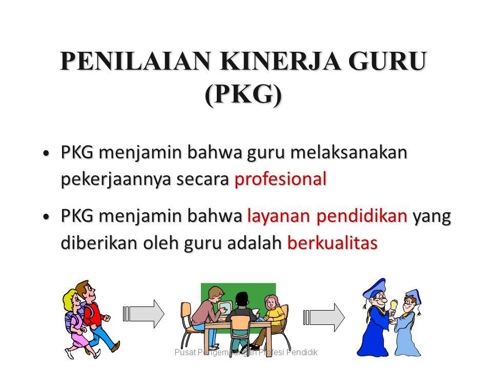 PENILAIAN KINERJA GURU (PKG)  PKG menjamin bahwa guru melaksanakan pekerjaannya secara profesional  PKG menjamin bahwa layanan pendidikan yang diberikan oleh guru adalah berkualitas Pusat Pengembangan Profesi Pendidik