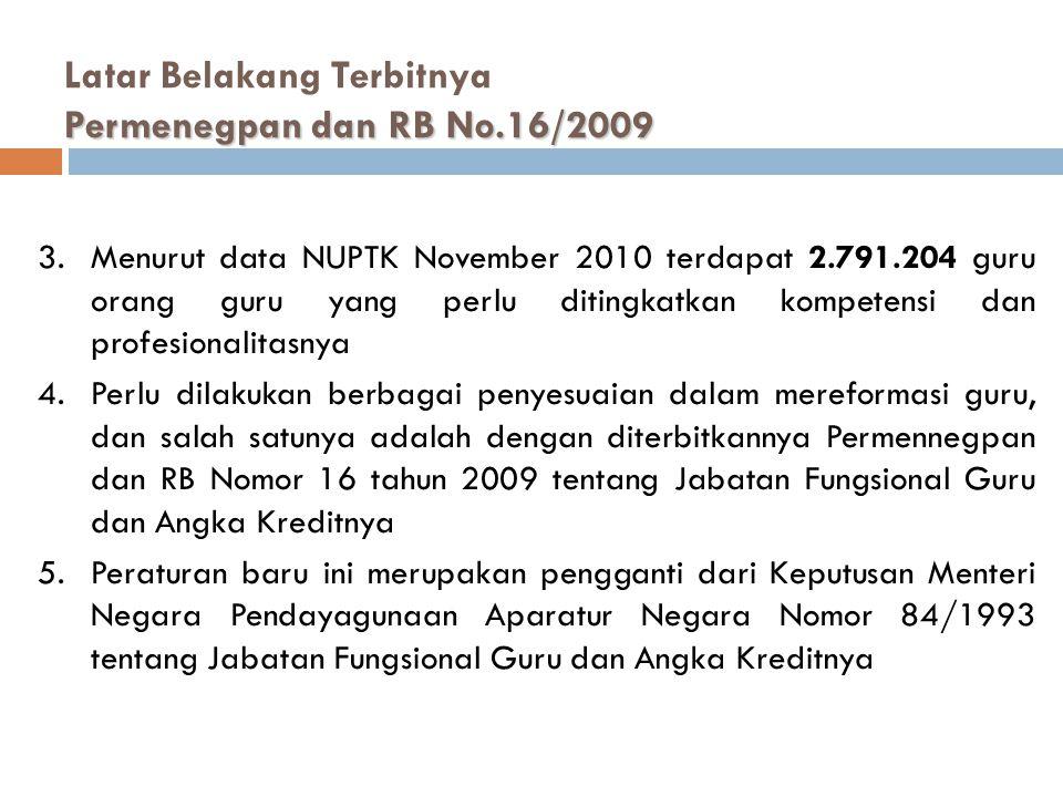 Permenegpan dan RB No.16/2009 Latar Belakang Terbitnya Permenegpan dan RB No.16/2009 3.Menurut data NUPTK November 2010 terdapat 2.791.204 guru orang guru yang perlu ditingkatkan kompetensi dan profesionalitasnya 4.Perlu dilakukan berbagai penyesuaian dalam mereformasi guru, dan salah satunya adalah dengan diterbitkannya Permennegpan dan RB Nomor 16 tahun 2009 tentang Jabatan Fungsional Guru dan Angka Kreditnya 5.Peraturan baru ini merupakan pengganti dari Keputusan Menteri Negara Pendayagunaan Aparatur Negara Nomor 84/1993 tentang Jabatan Fungsional Guru dan Angka Kreditnya