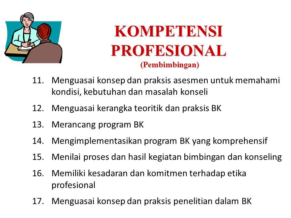 KOMPETENSI PROFESIONAL (Pembimbingan) 11.Menguasai konsep dan praksis asesmen untuk memahami kondisi, kebutuhan dan masalah konseli 12.Menguasai kerangka teoritik dan praksis BK 13.Merancang program BK 14.Mengimplementasikan program BK yang komprehensif 15.Menilai proses dan hasil kegiatan bimbingan dan konseling 16.Memiliki kesadaran dan komitmen terhadap etika profesional 17.Menguasai konsep dan praksis penelitian dalam BK